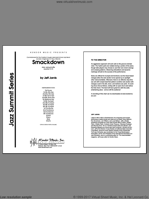 Smackdown (COMPLETE) sheet music for jazz band by Jarvis