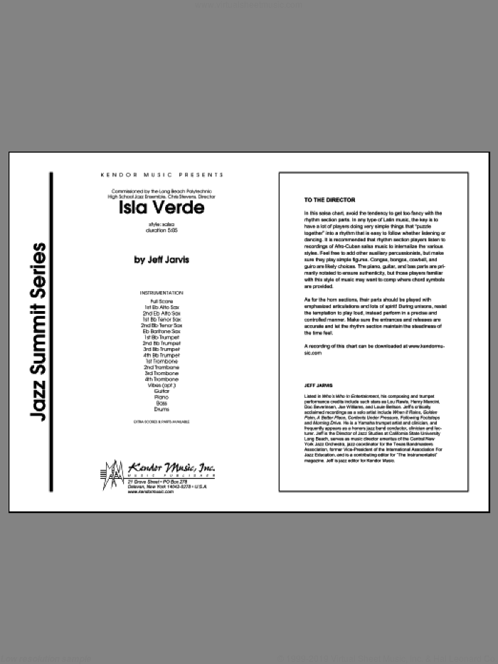 Isla Verde (COMPLETE) sheet music for jazz band by Jarvis, intermediate skill level