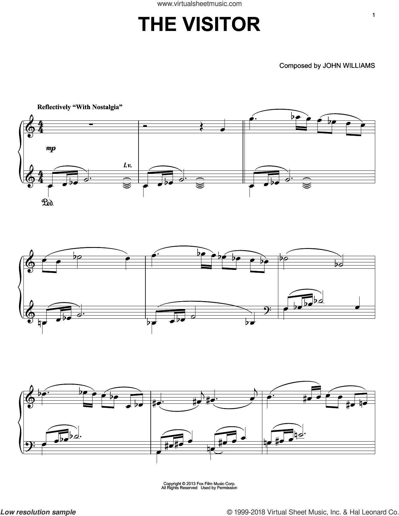 The Visitor sheet music for piano solo by John Williams, intermediate
