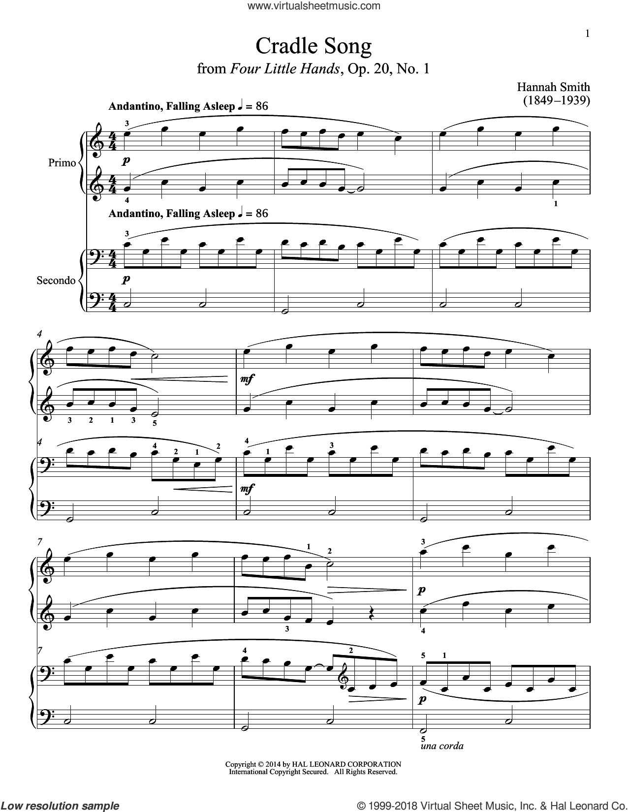 Cradle Song sheet music for piano four hands (duets) by Bradley Beckman. Score Image Preview.