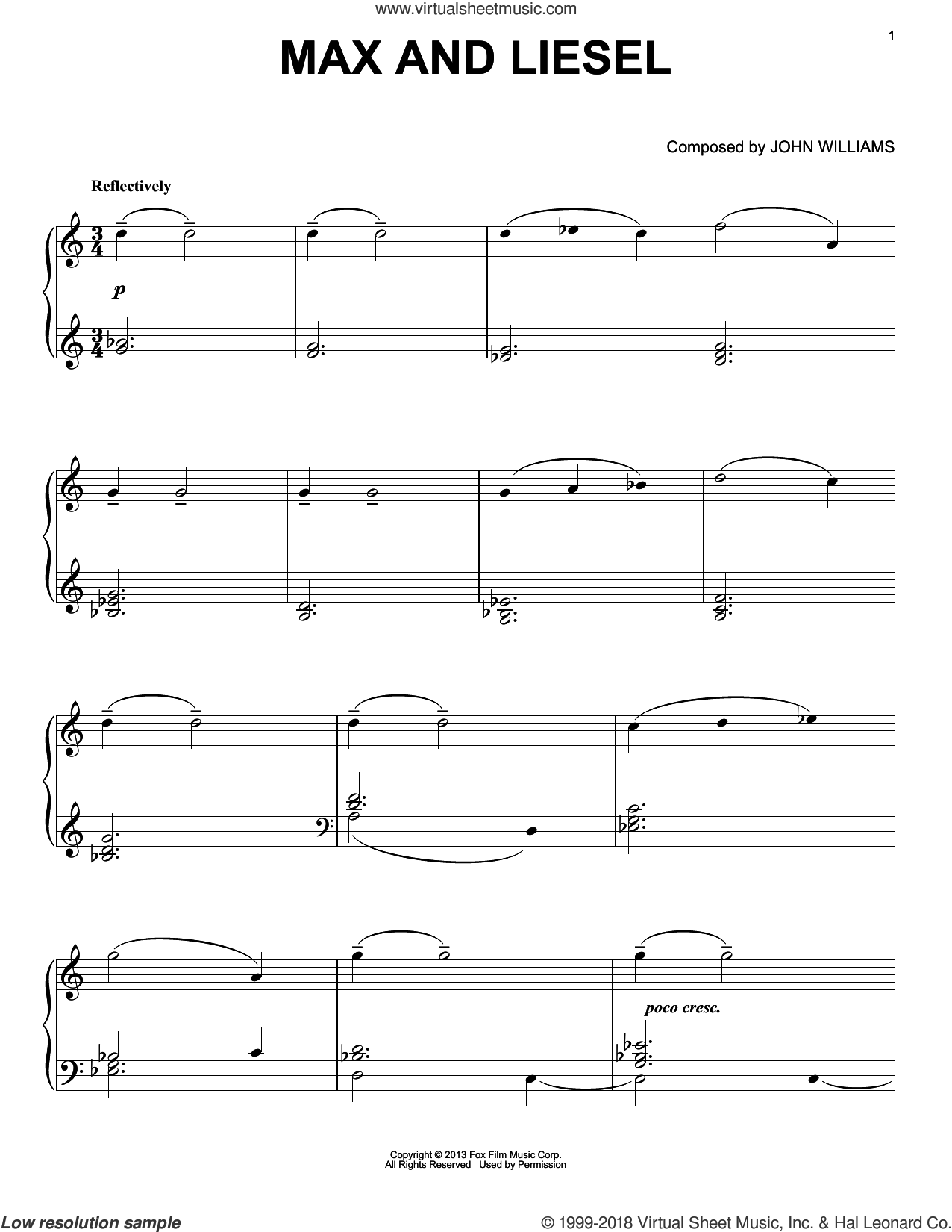 Max And Liesel sheet music for piano solo by John Williams