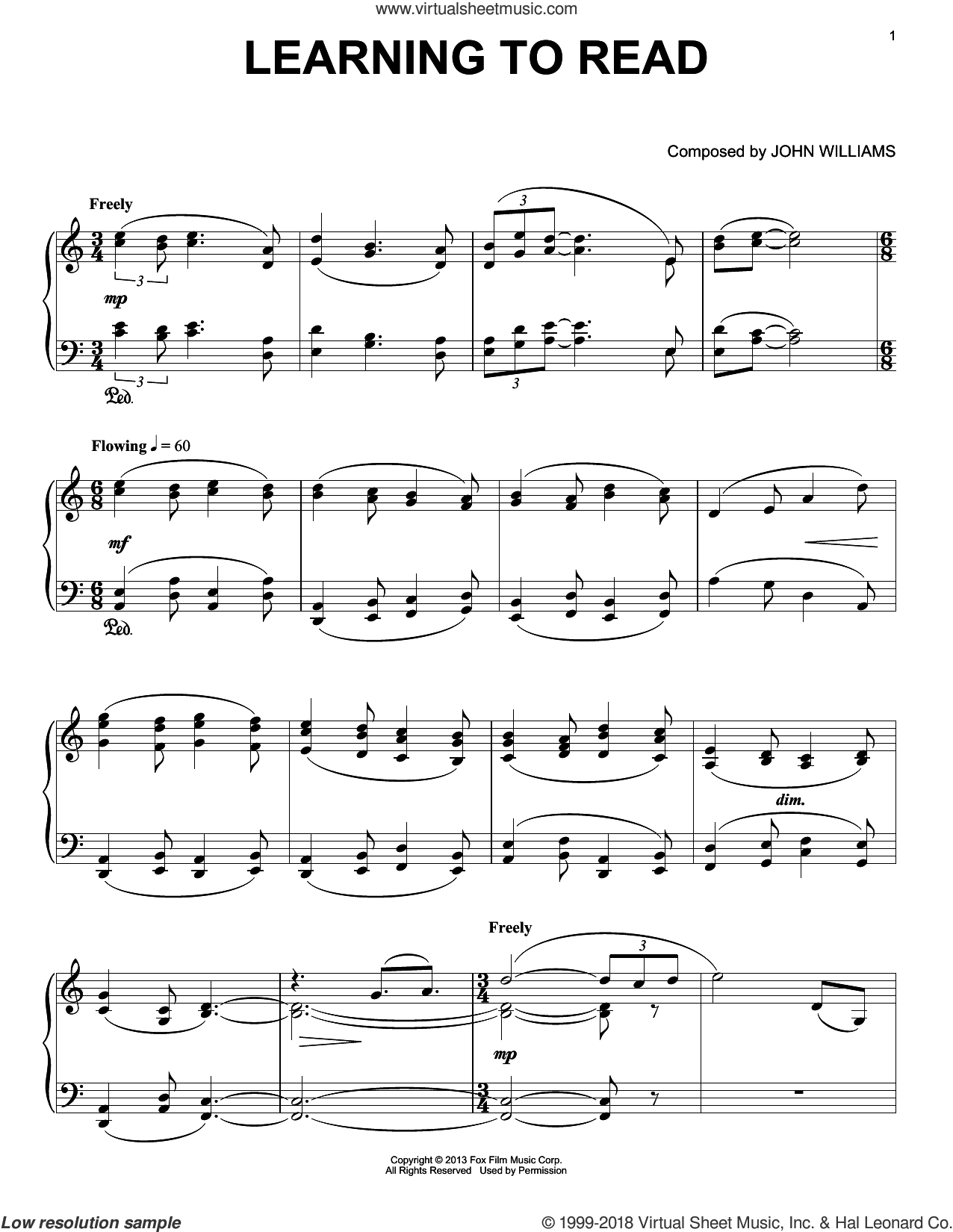 Learning To Read sheet music for piano solo by John Williams. Score Image Preview.