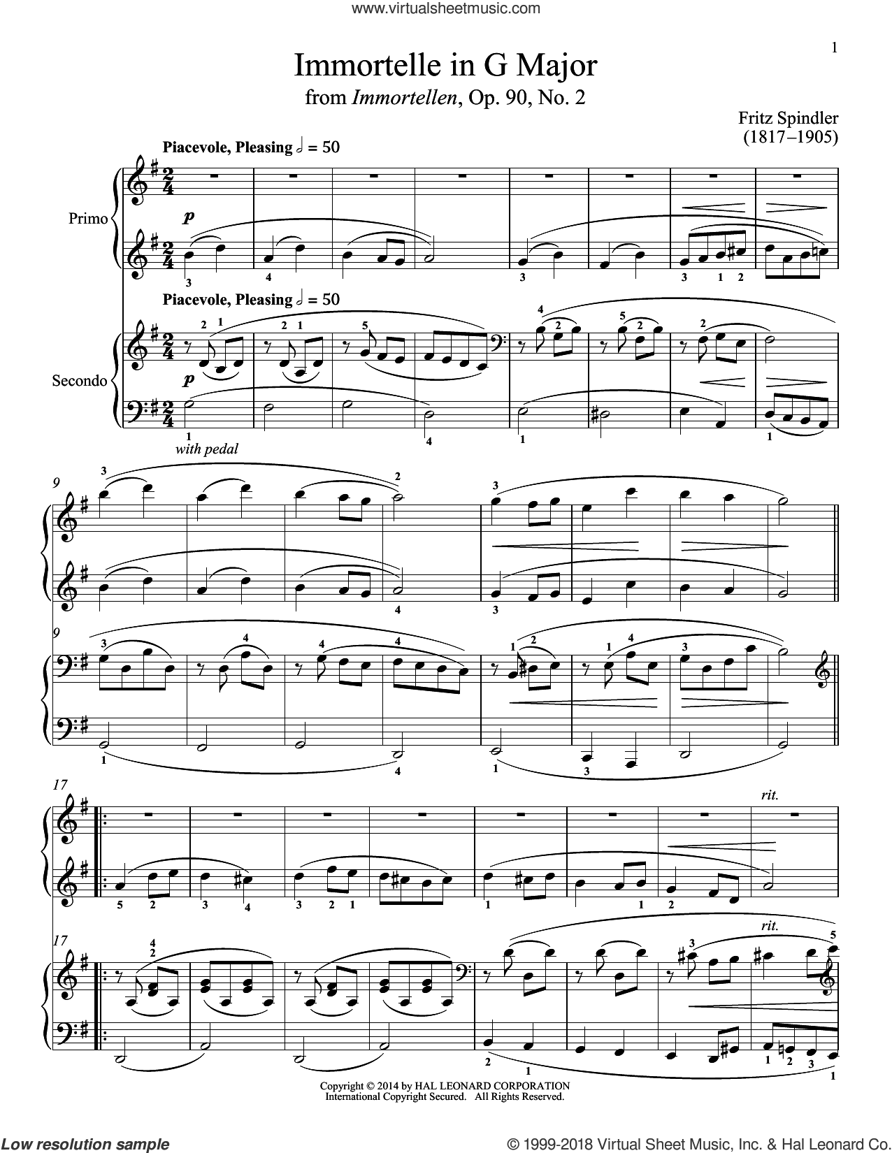Immortelle In G Major sheet music for piano four hands by Bradley Beckman and Carolyn True, classical score, intermediate skill level