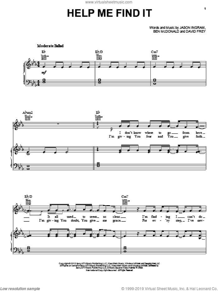 Help Me Find It sheet music for voice, piano or guitar by Sidewalk Prophets, intermediate skill level