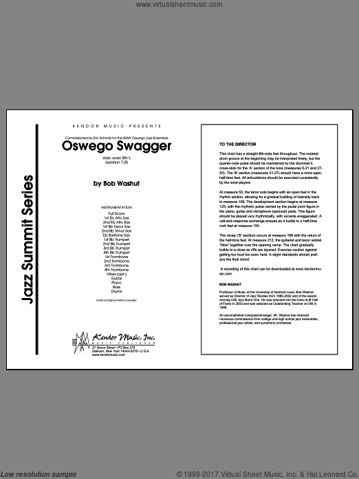 Oswego Swagger (COMPLETE) sheet music for jazz band by Washut