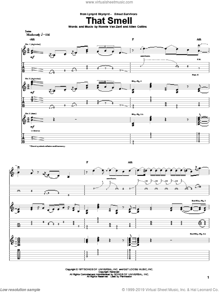 That Smell sheet music for guitar (tablature) by Lynyrd Skynyrd and Ronnie Van Zant, intermediate guitar (tablature). Score Image Preview.