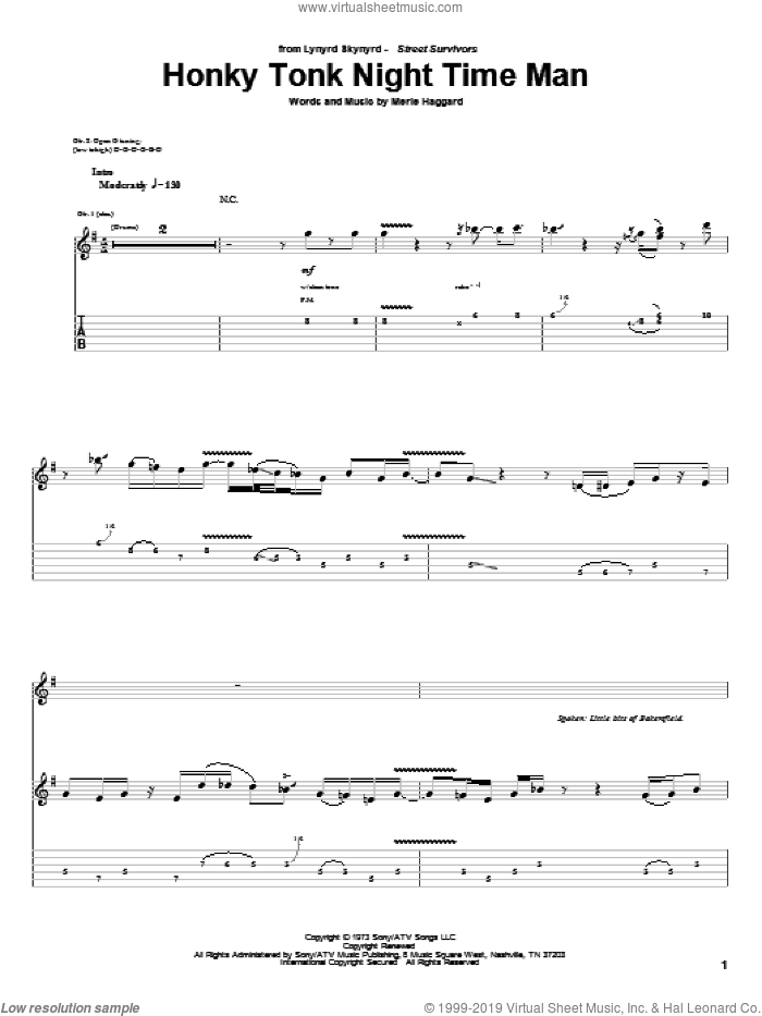 Honky Tonk Night Time Man sheet music for guitar (tablature) by Lynyrd Skynyrd and Merle Haggard, intermediate skill level