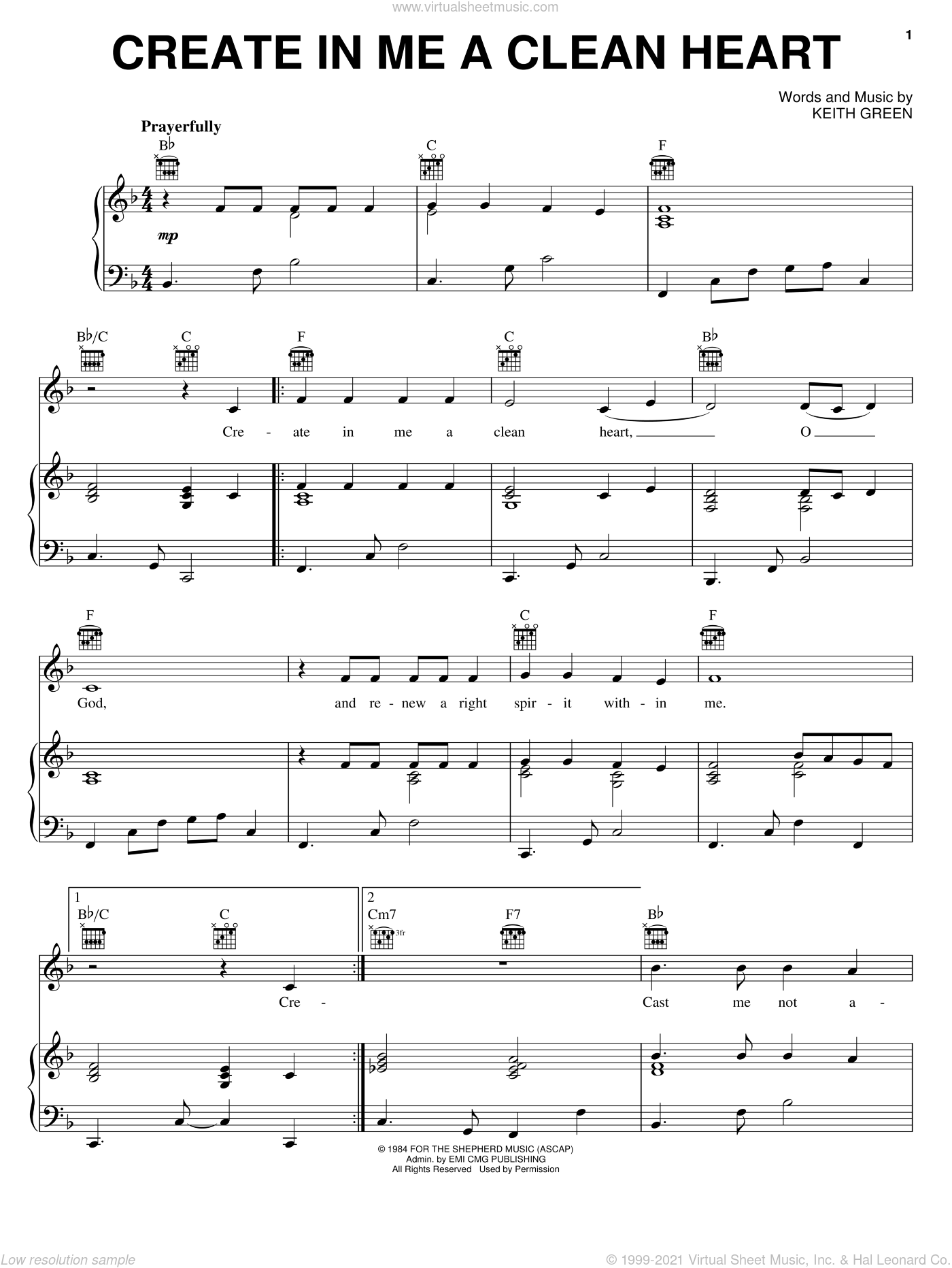 Create In Me A Clean Heart sheet music for voice, piano or guitar by Keith Green, intermediate. Score Image Preview.
