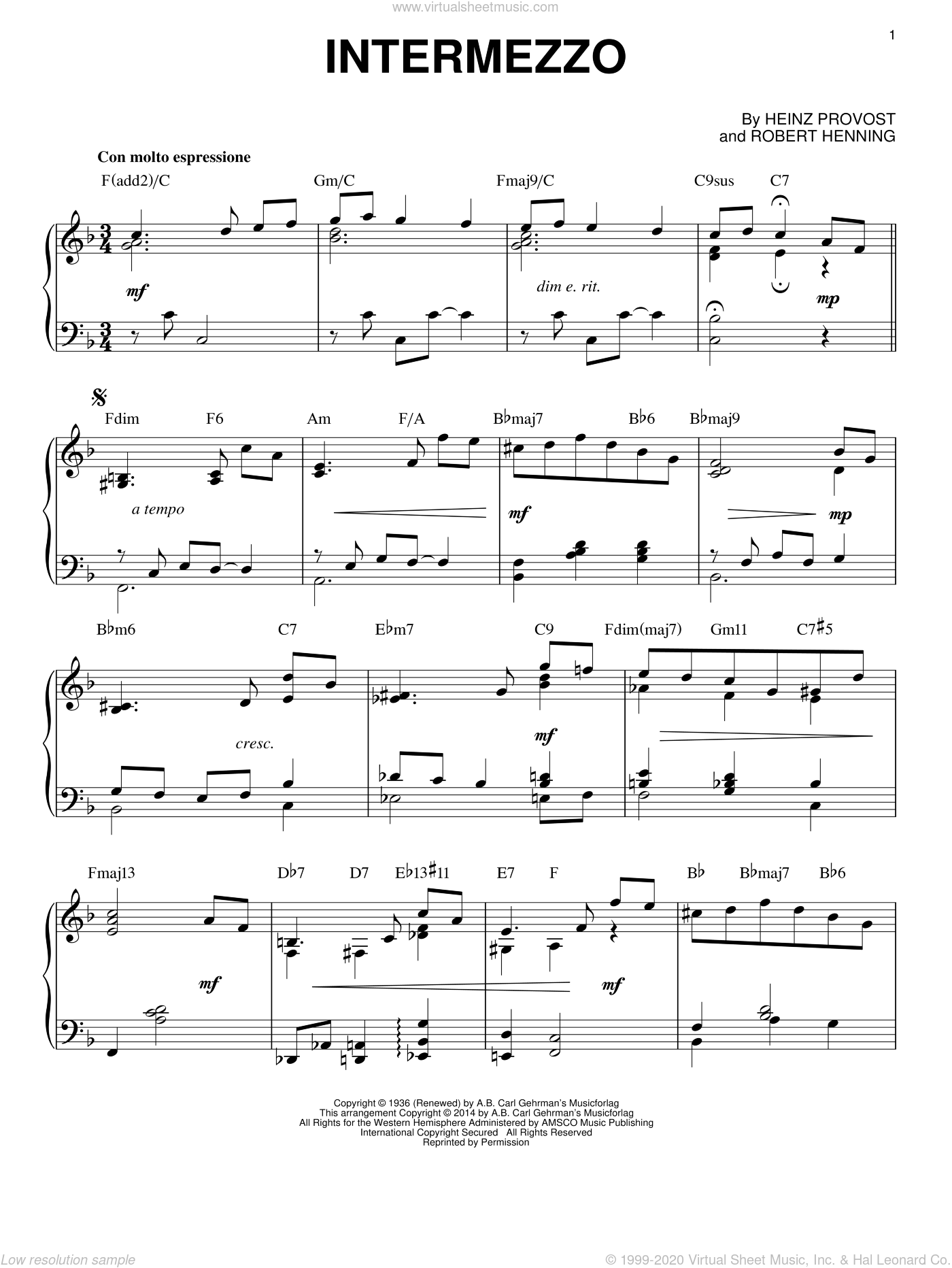 Intermezzo sheet music for piano solo by Heinz Provost, intermediate