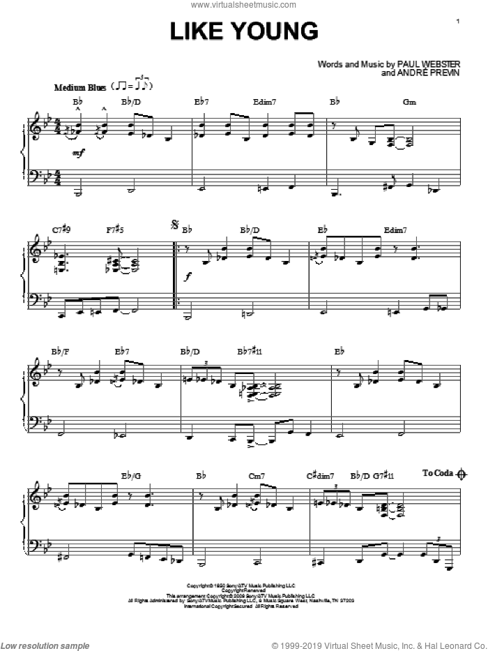 Like Young sheet music for piano solo by Andre Previn. Score Image Preview.