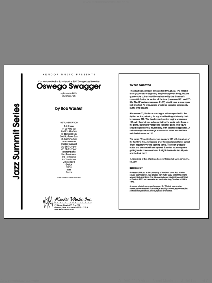 Oswego Swagger (COMPLETE) sheet music for jazz band by Washut, intermediate jazz band. Score Image Preview.