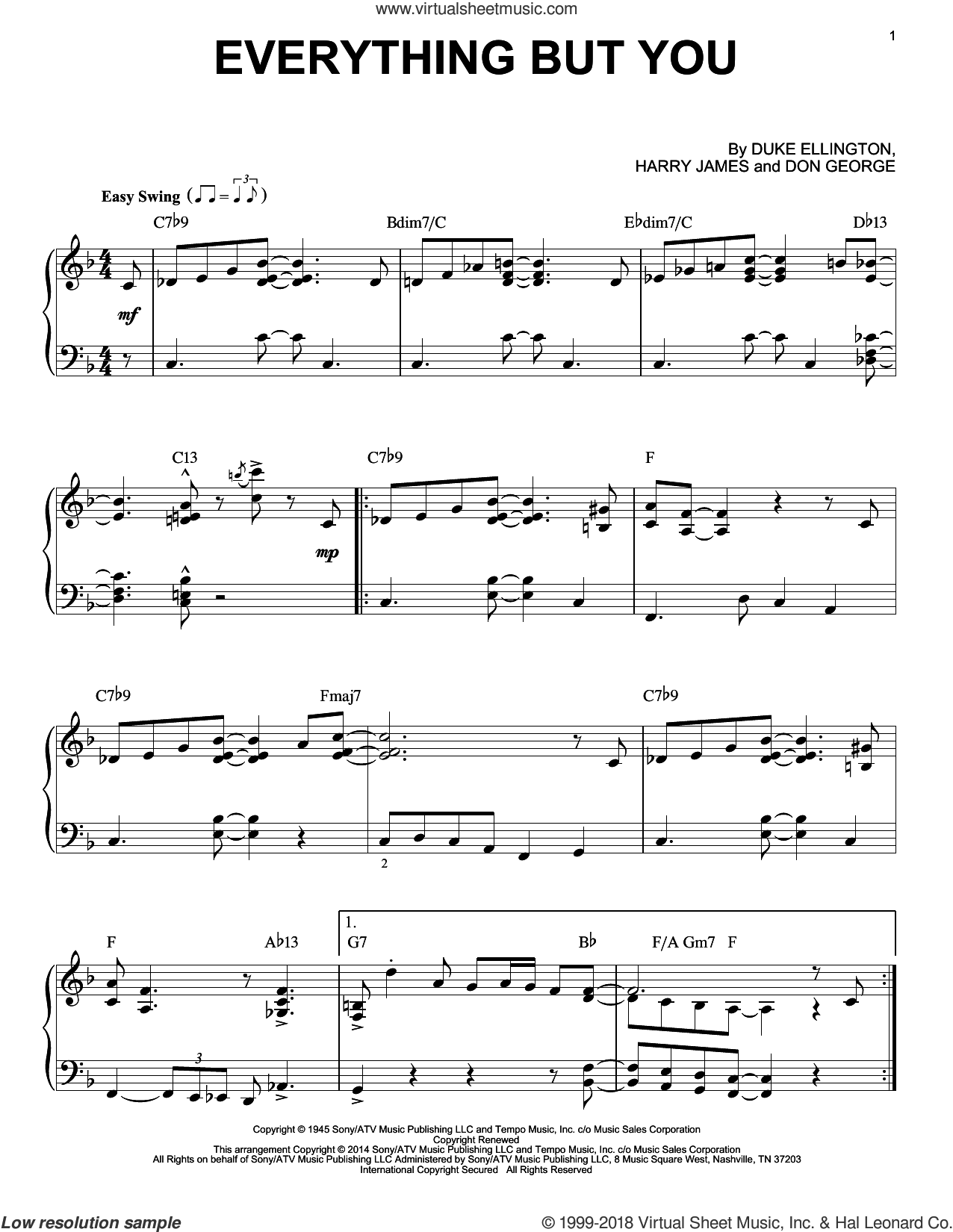 Everything But You sheet music for piano solo by Harry James, intermediate. Score Image Preview.