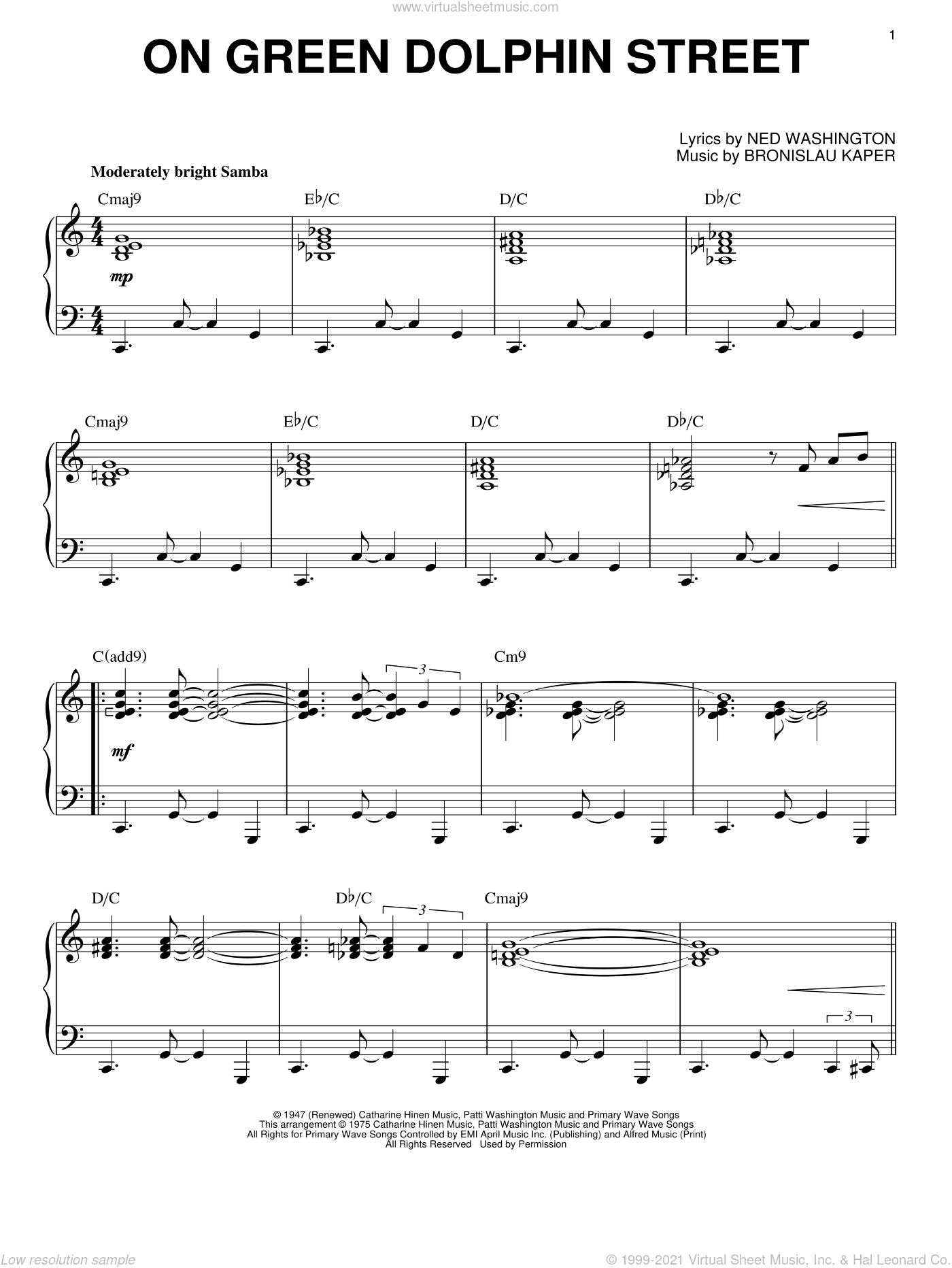 On Green Dolphin Street sheet music for piano solo by Bronislau Kaper, intermediate piano. Score Image Preview.