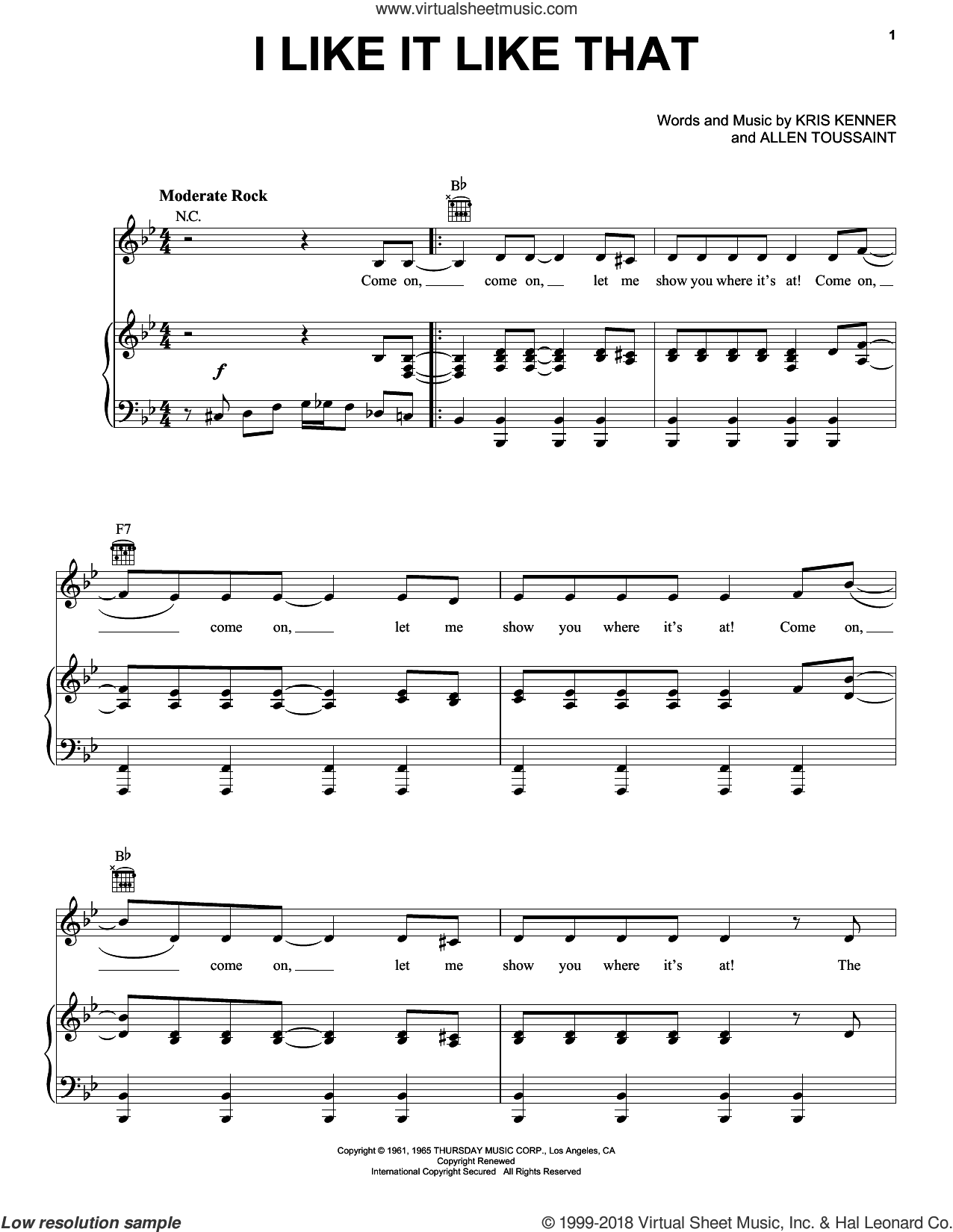 I Like It Like That sheet music for voice, piano or guitar by Dave Clark Five, intermediate voice, piano or guitar. Score Image Preview.