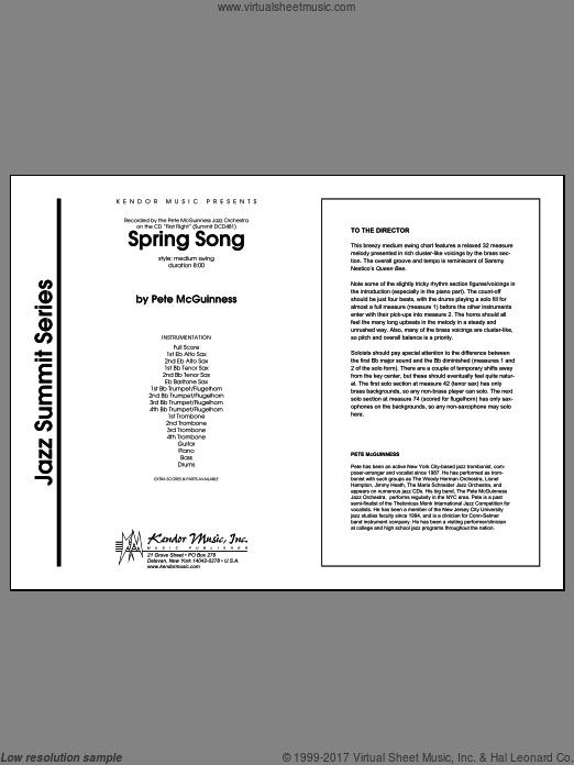 Spring Song (COMPLETE) sheet music for jazz band by McGuinness
