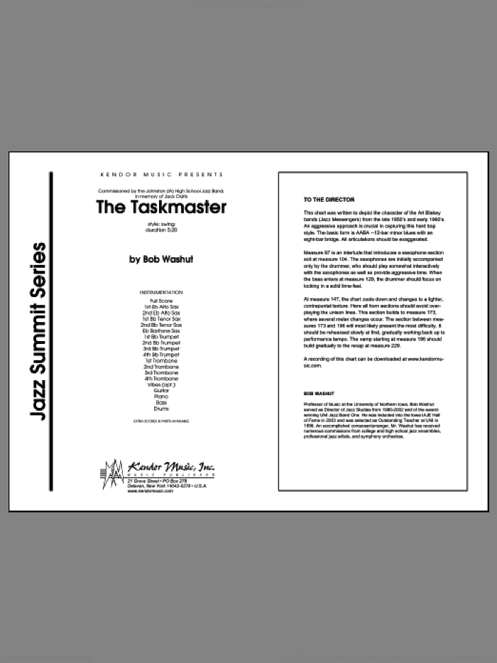Taskmaster, The (COMPLETE) sheet music for jazz band by Washut, intermediate