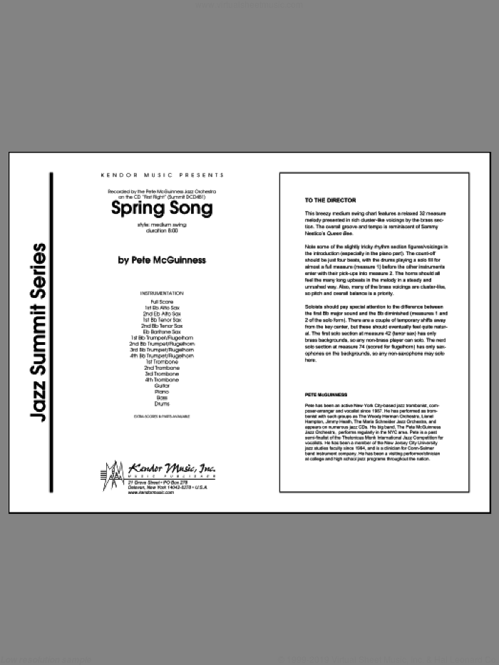 Spring Song (COMPLETE) sheet music for jazz band by McGuinness, intermediate skill level