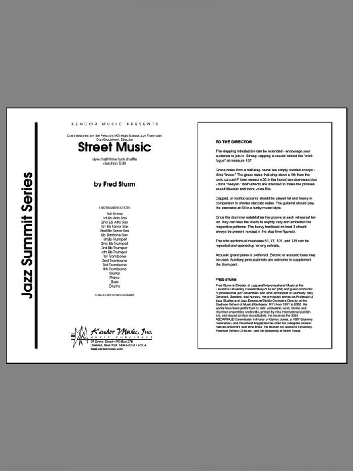 Street Music (COMPLETE) sheet music for jazz band by Sturm, intermediate. Score Image Preview.