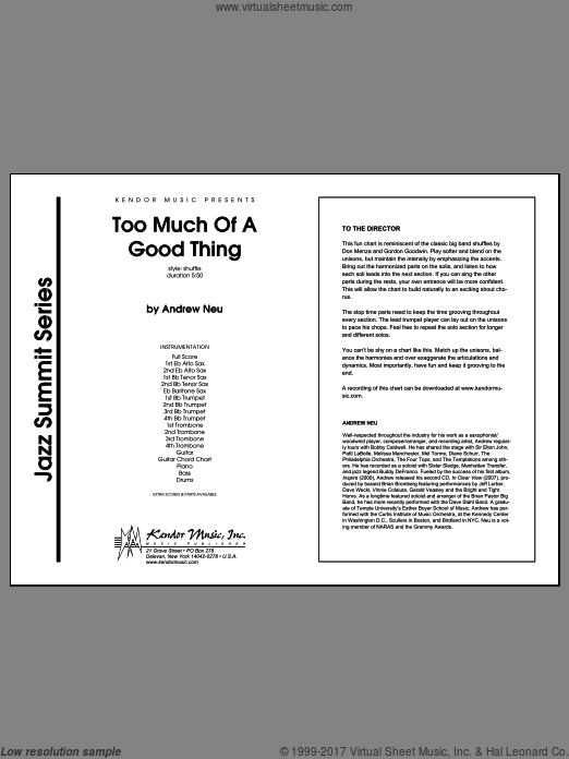 Too Much of a Good Thing (COMPLETE) sheet music for jazz band by Neu