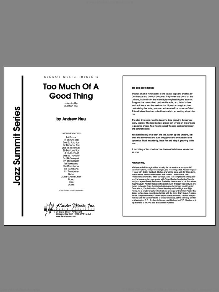 Too Much of a Good Thing (COMPLETE) sheet music for jazz band by Neu, intermediate skill level