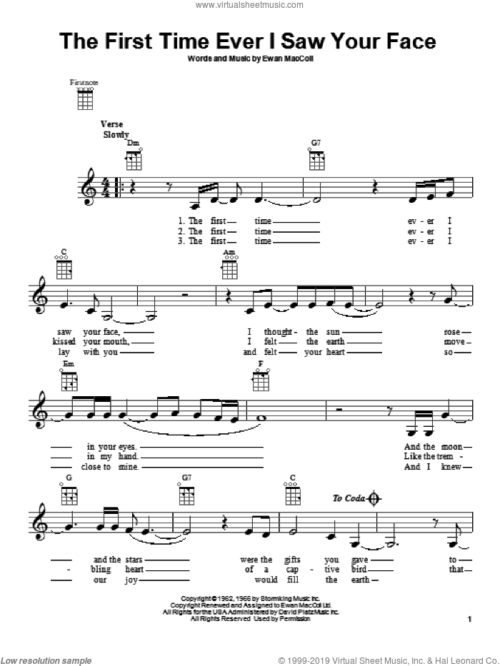 The First Time Ever I Saw Your Face sheet music for ukulele by Roberta Flack and Ewan MacColl, intermediate skill level