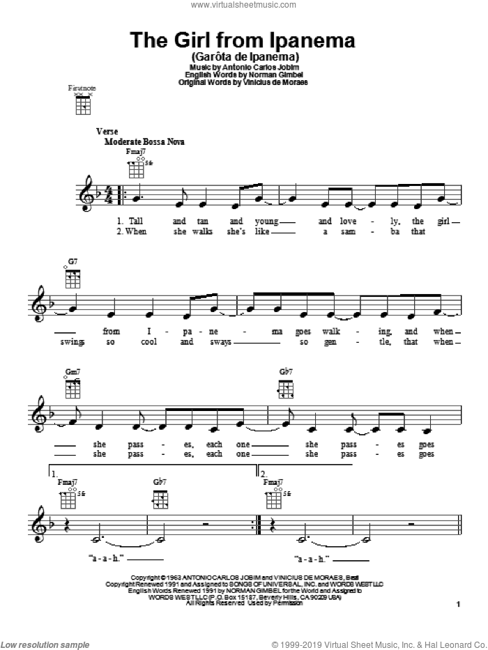 The Girl From Ipanema (GarA'ta De Ipanema) sheet music for ukulele by Stan Getz & Astrud Gilberto, intermediate skill level