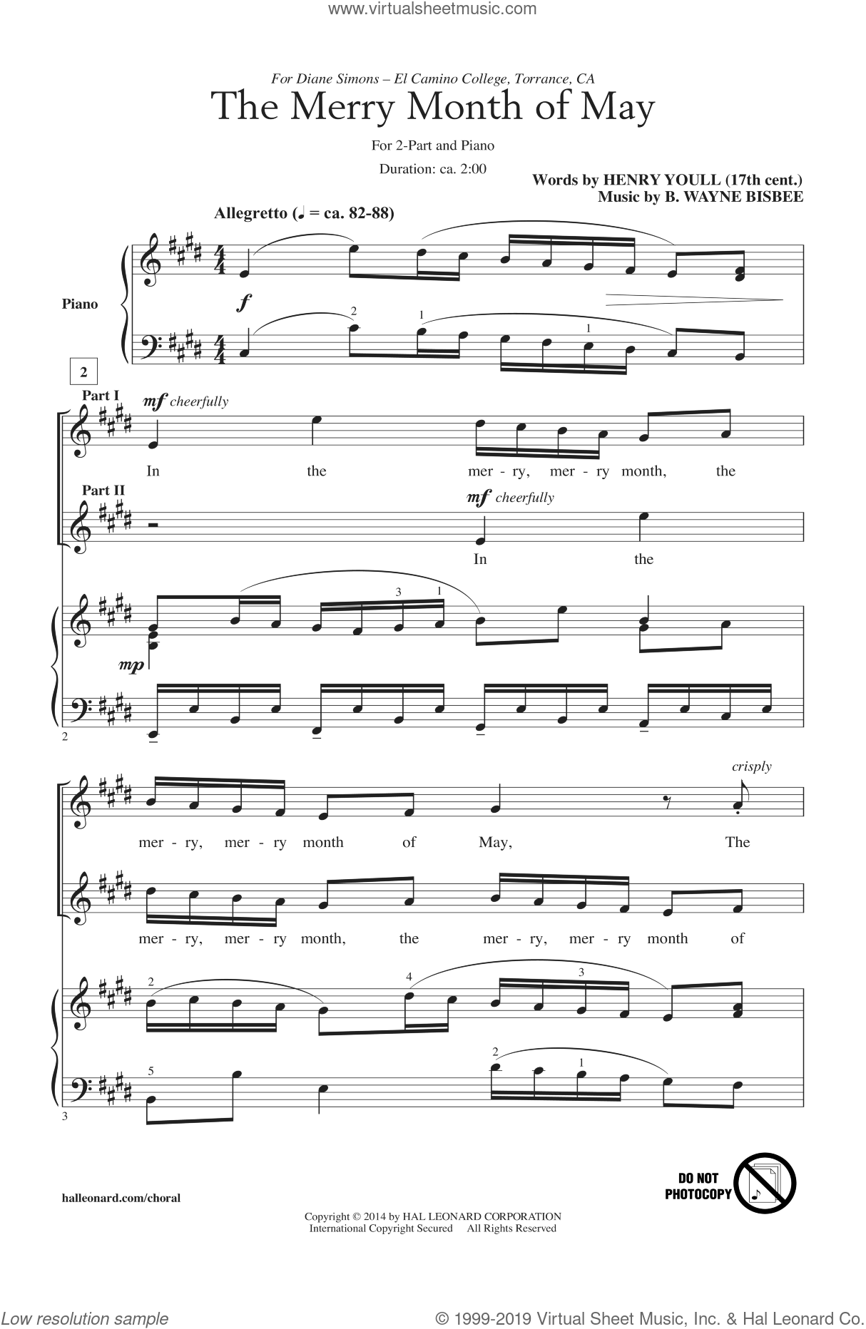 The Merry Month Of May sheet music for choir and piano (duets) by B. Wayne Bisbee. Score Image Preview.