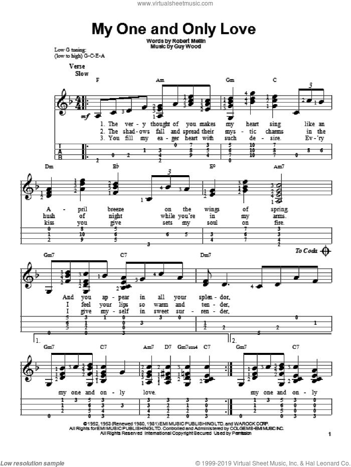 My One And Only Love sheet music for ukulele by Robert Mellin and Guy Wood, intermediate ukulele. Score Image Preview.
