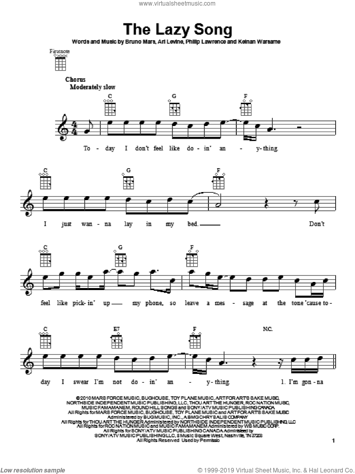 The Lazy Song sheet music for ukulele by Bruno Mars. Score Image Preview.