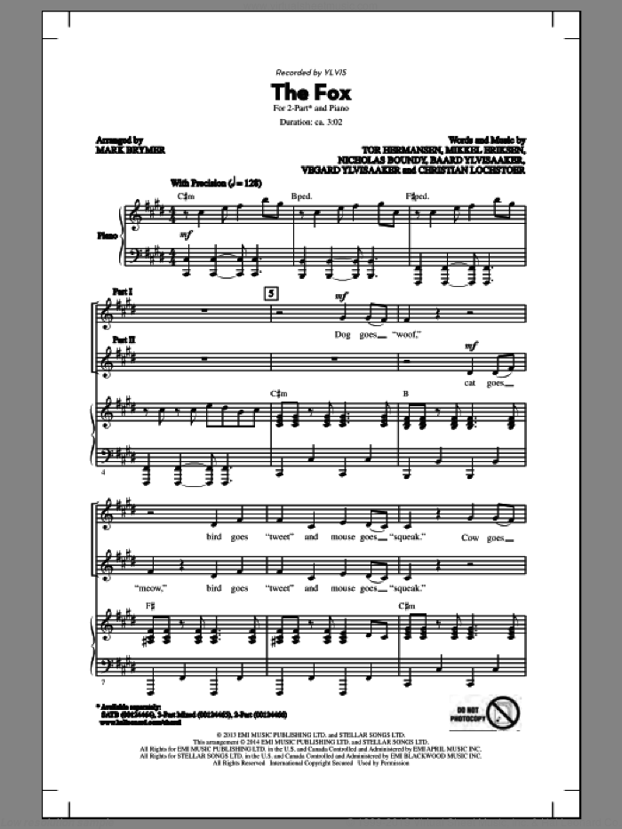 The Fox sheet music for choir and piano (duets) by Mark Brymer