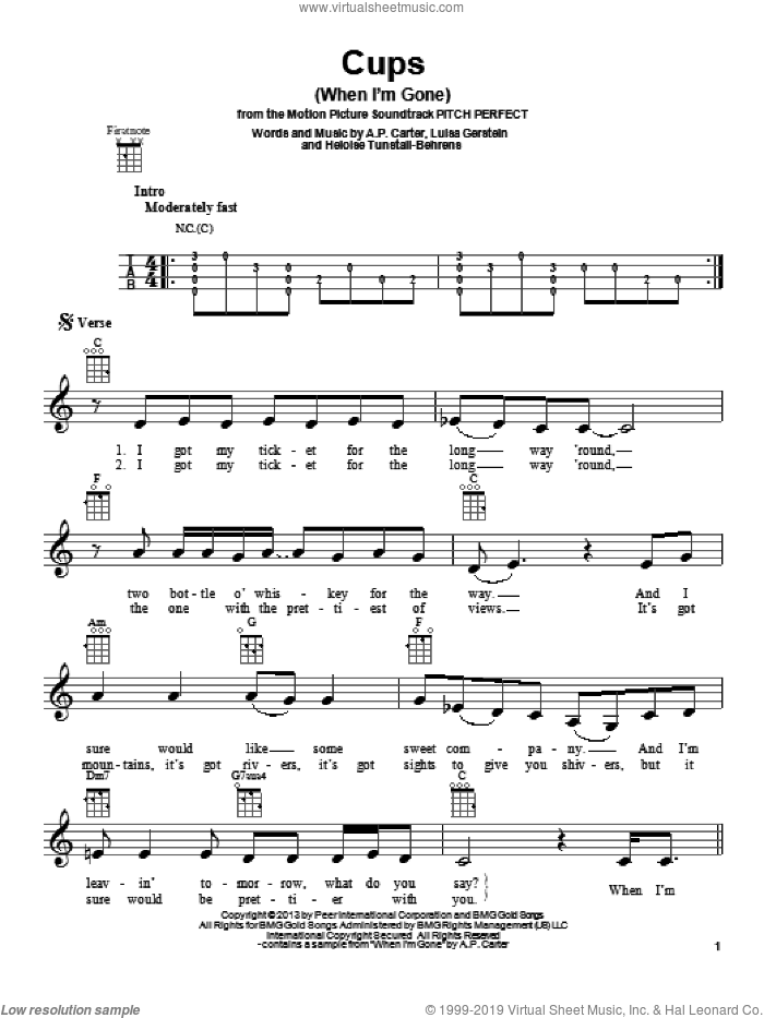 Cups (When I'm Gone) sheet music for ukulele by Anna Kendrick, intermediate skill level