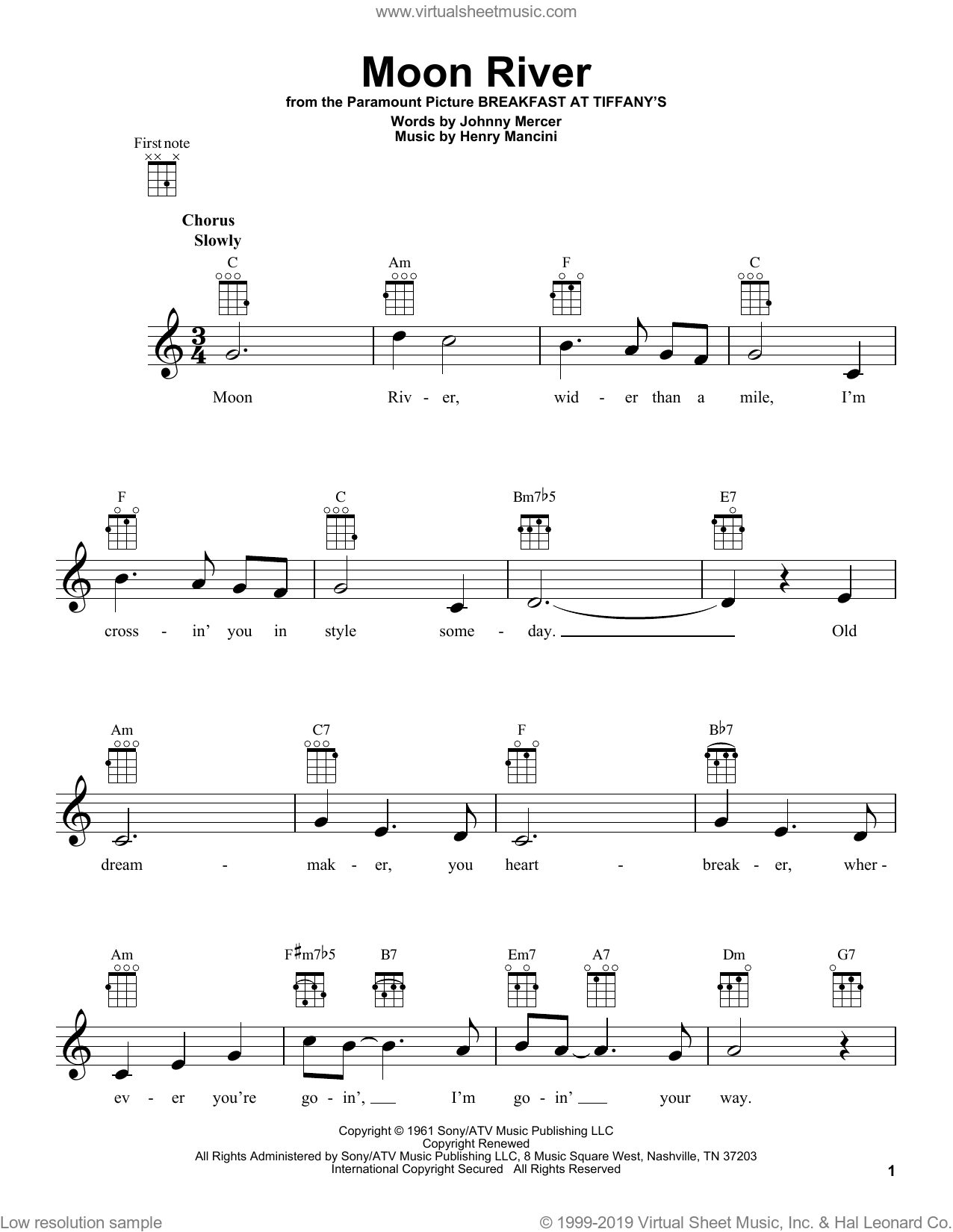 Moon River sheet music for ukulele by Henry Mancini and Andy Williams, intermediate skill level