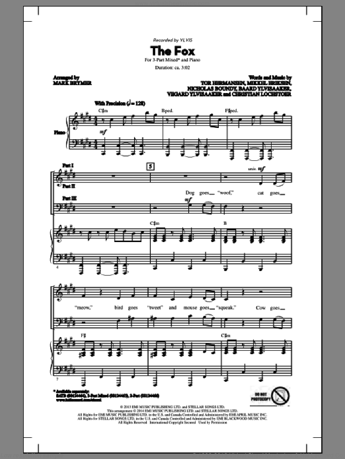The Fox sheet music for choir (chamber ensemble) by Mark Brymer and Ylvis. Score Image Preview.