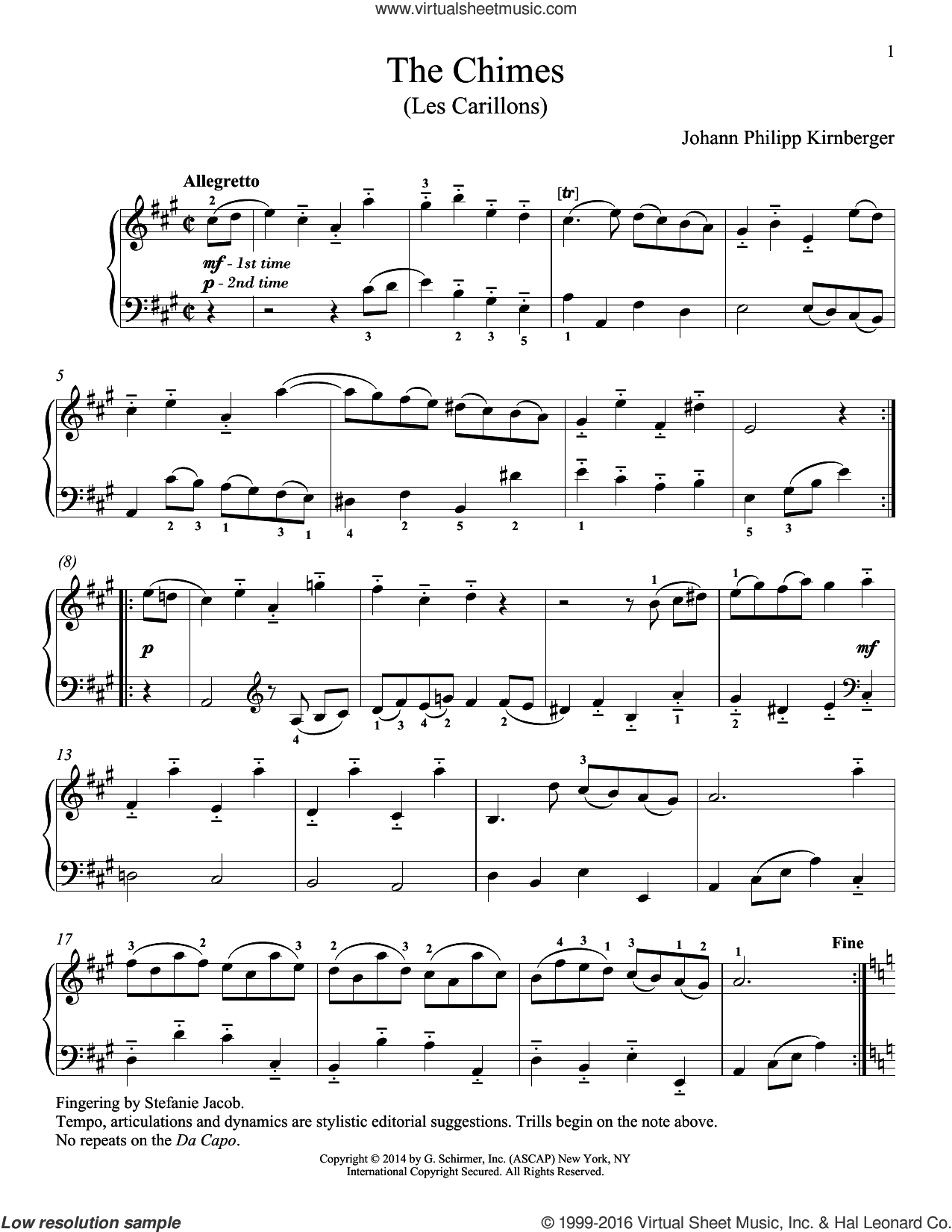 Les Carillons sheet music for piano solo by Richard Walters and Johann Philipp Kirnberger, classical score, intermediate skill level