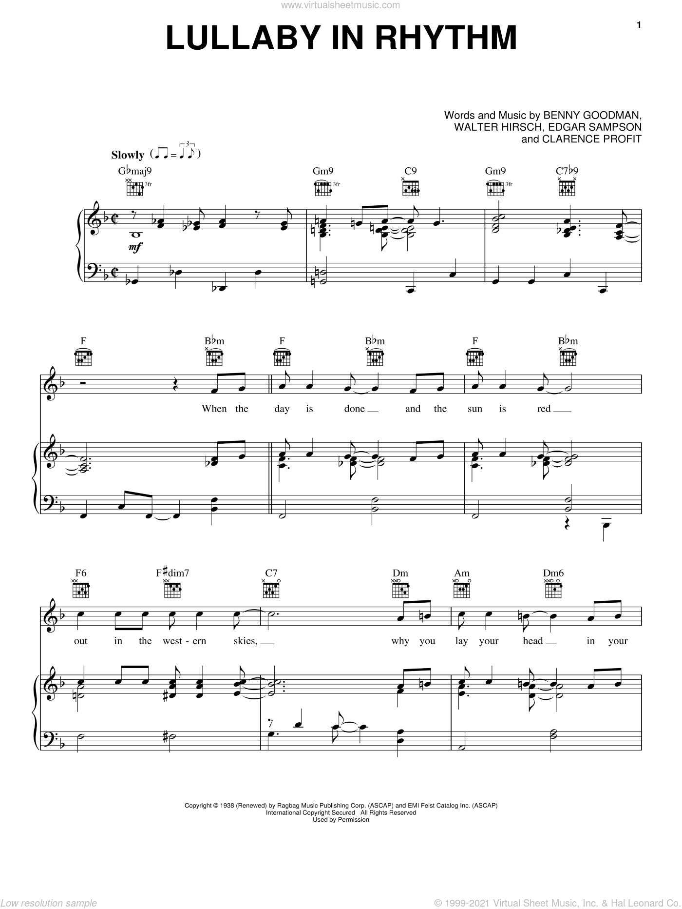 Lullaby In Rhythm sheet music for voice, piano or guitar by Clarence Profit. Score Image Preview.
