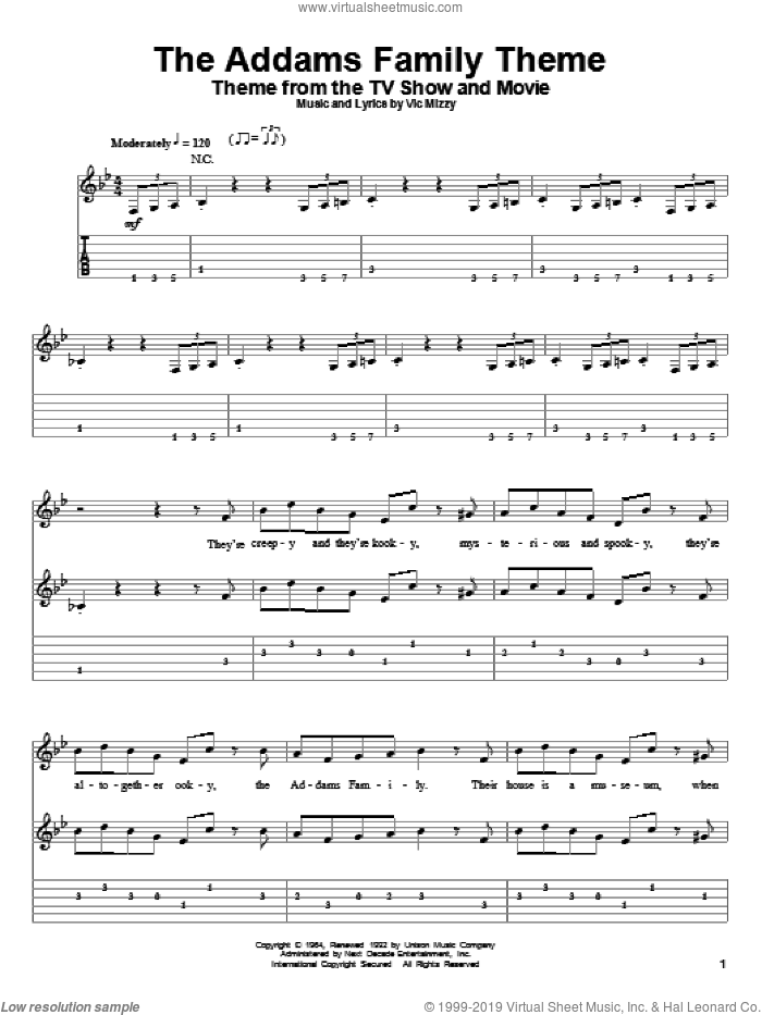 The Addams Family Theme sheet music for guitar (tablature, play-along) by Vic Mizzy, intermediate skill level