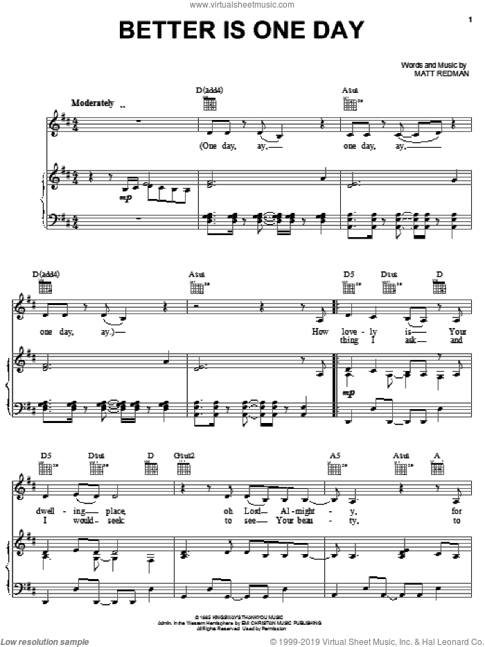 Better Is One Day sheet music for voice, piano or guitar by Rebecca St. James and Matt Redman, intermediate skill level