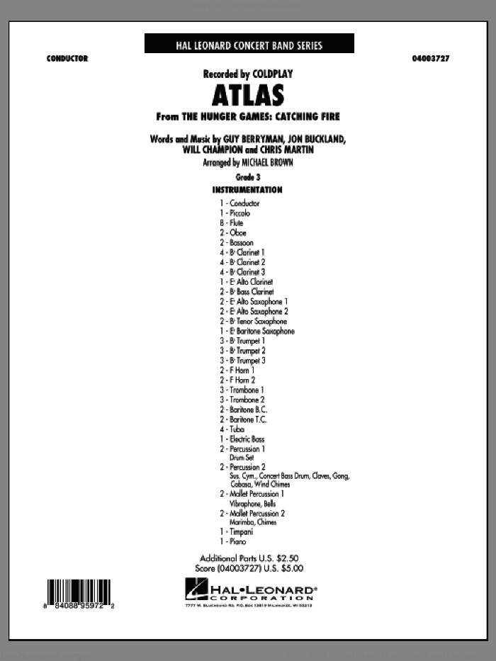 Atlas (from The Hunger Games: Catching Fire) sheet music for concert band (full score) by Michael Brown