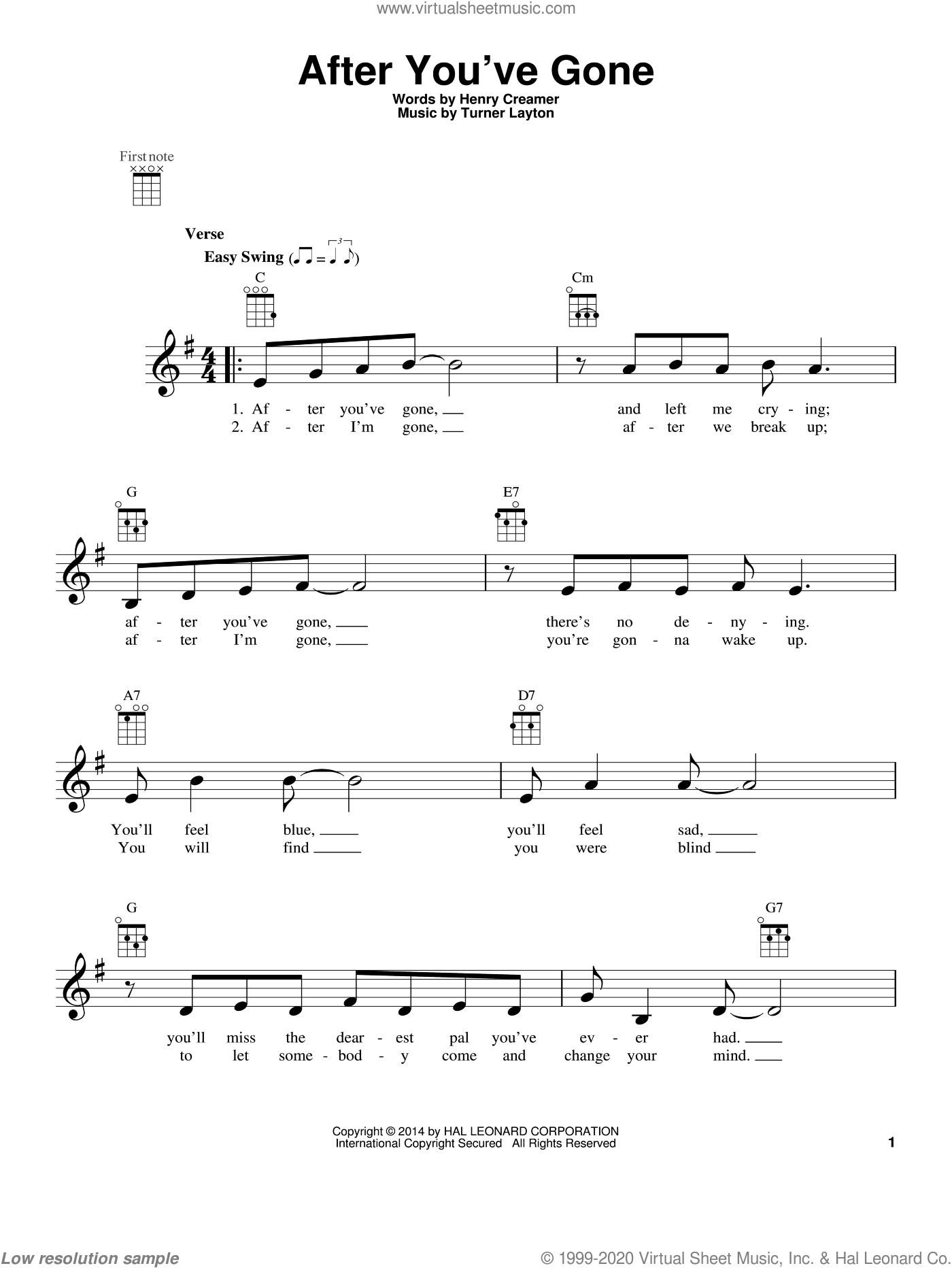 After You've Gone sheet music for ukulele by Sophie Tucker, intermediate