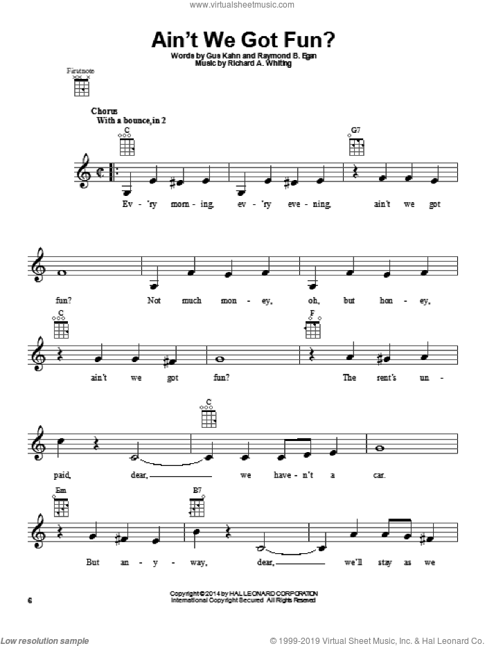 Ain't We Got Fun? sheet music for ukulele by Van and Schenck and Ruth Roye, intermediate skill level