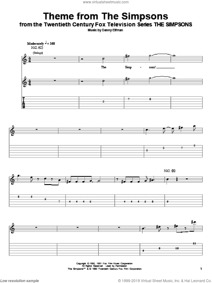 Theme From The Simpsons sheet music for guitar (tablature, play-along) by Danny Elfman and The Simpsons, intermediate guitar (tablature, play-along). Score Image Preview.