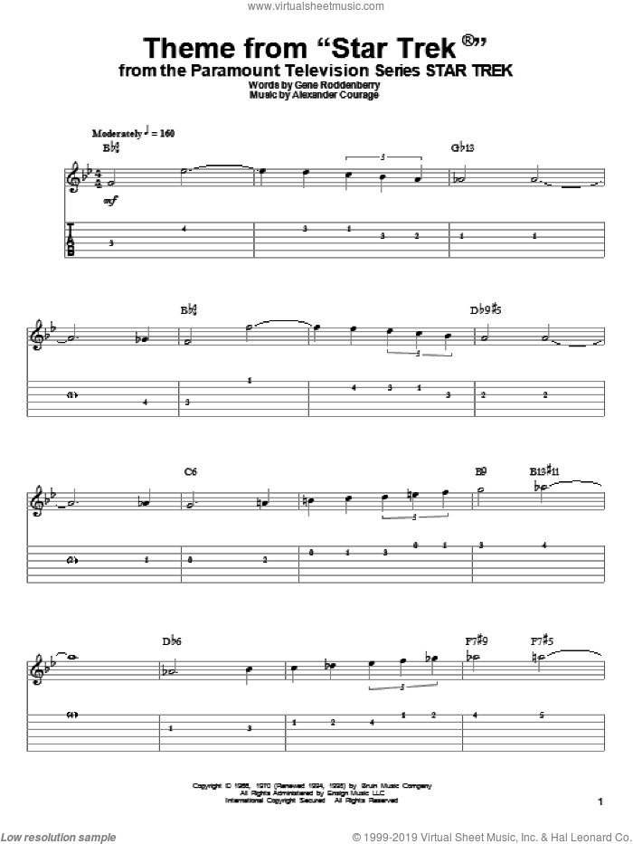 Theme from Star Trek(R) sheet music for guitar (tablature, play-along) by Gene Roddenberry and Alexander Courage, intermediate skill level