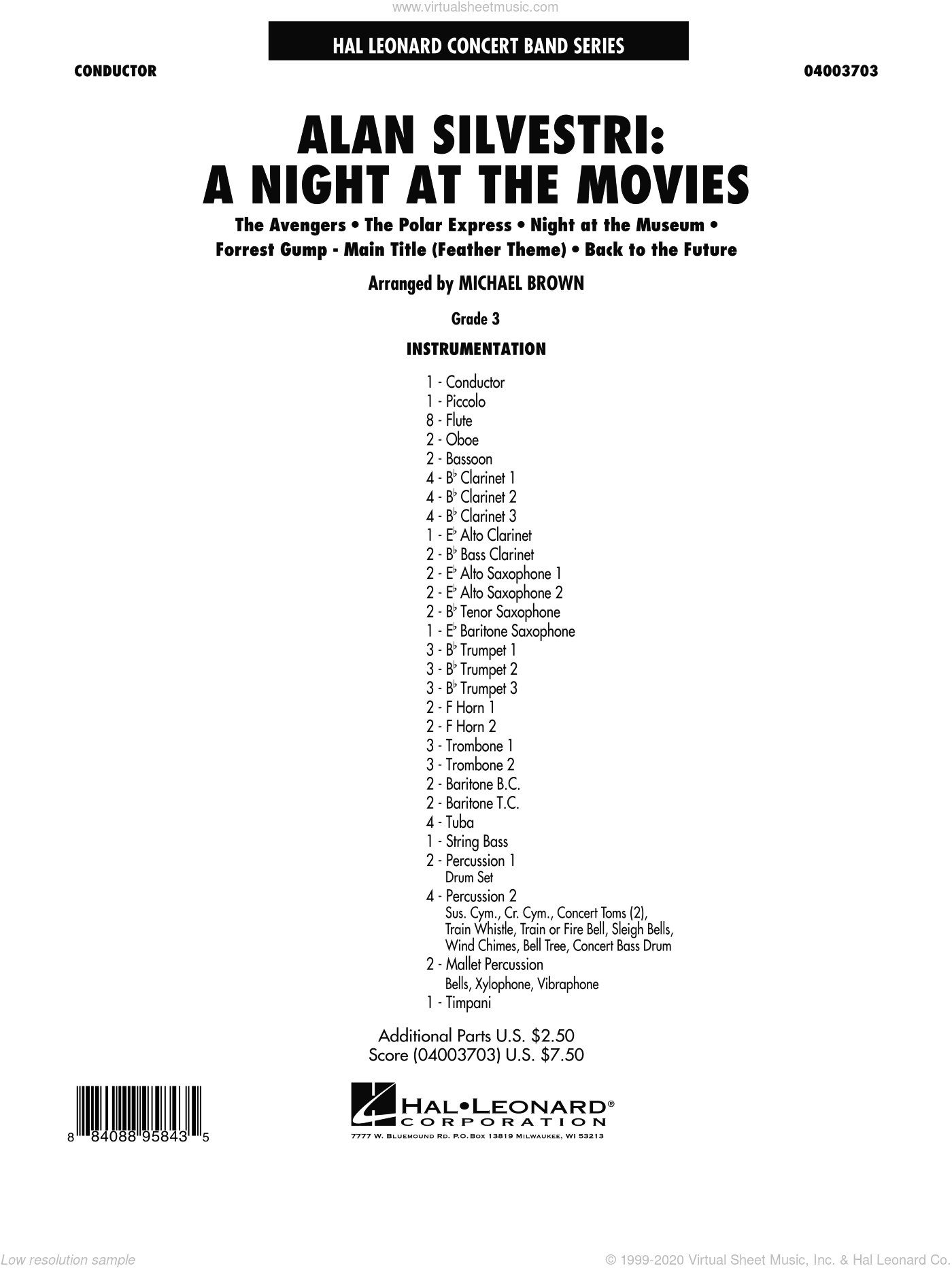 Alan Silvestri: A Night at the Movies sheet music for concert band (full score) by Alan Silvestri
