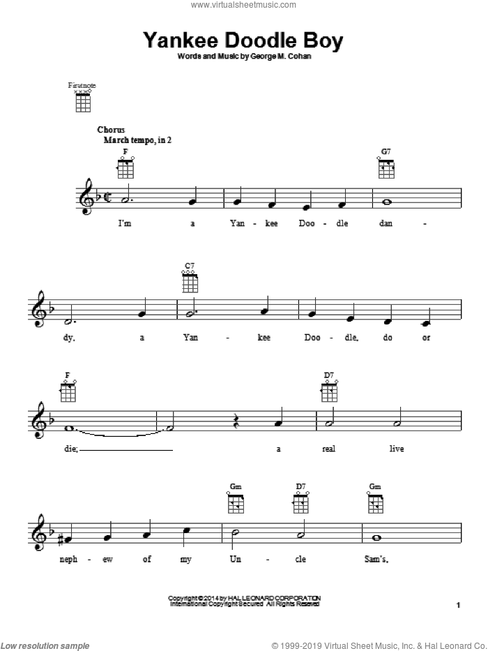 Yankee Doodle Boy sheet music for ukulele by George M. Cohan and George Cohan, intermediate. Score Image Preview.