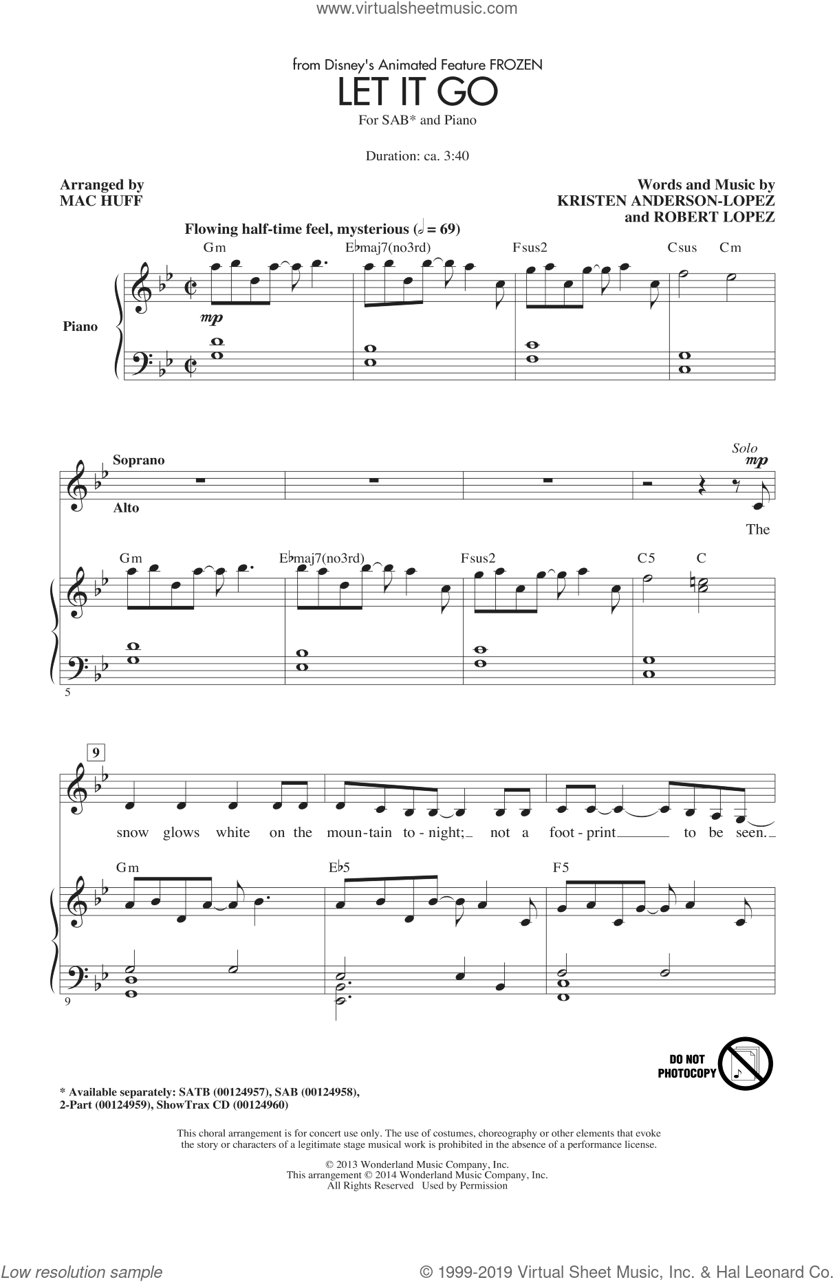 Let It Go (from Frozen) sheet music for choir (SAB: soprano, alto, bass) by Mac Huff, intermediate skill level