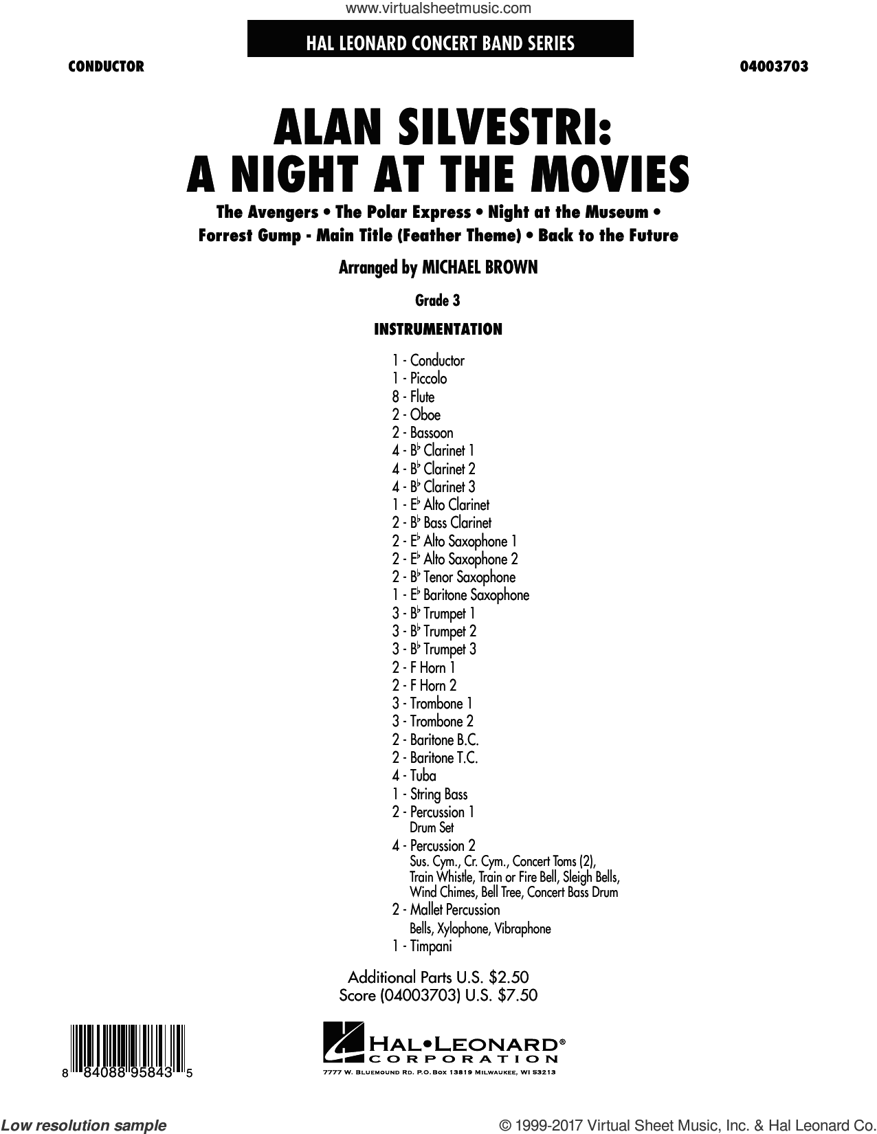 Alan Silvestri: A Night at the Movies (COMPLETE) sheet music for concert band by Alan Silvestri and Michael Brown, intermediate skill level