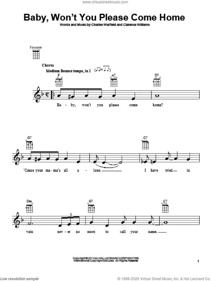 Baby, Won't You Please Come Home sheet music for ukulele by Bessie Smith, intermediate skill level