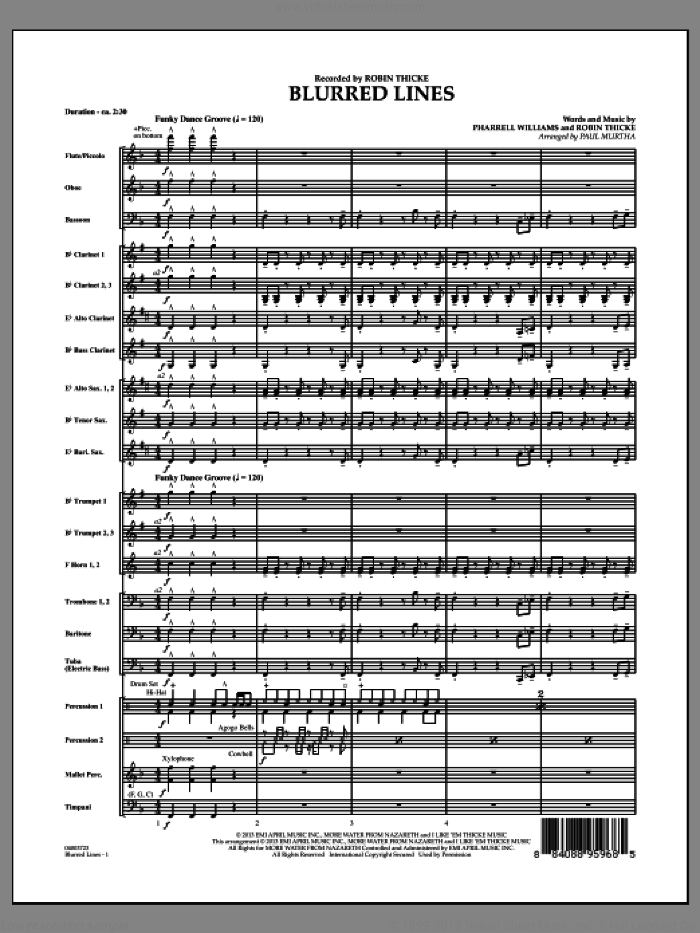 Blurred Lines (COMPLETE) sheet music for concert band by Paul Murtha and Robin Thicke, intermediate. Score Image Preview.