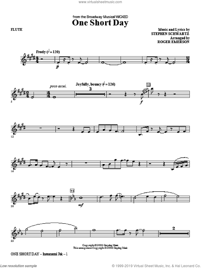 One Short Day (complete set of parts) sheet music for orchestra/band by Stephen Schwartz and Roger Emerson, intermediate skill level