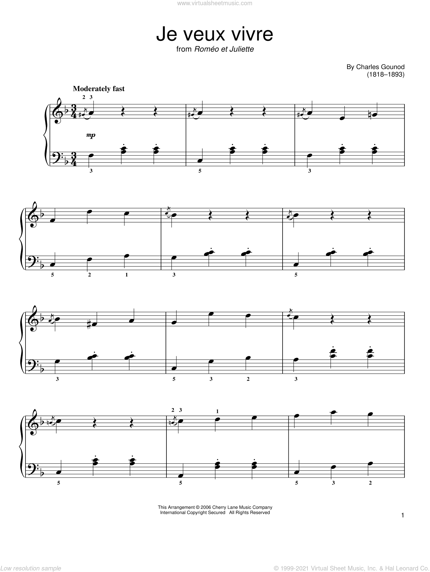 Ah Je Veux Vivre sheet music for piano solo by Charles Gounod, classical score, easy skill level